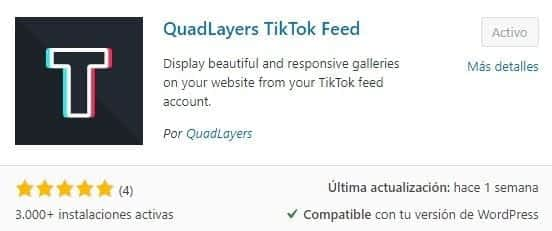Plugin Quadlayers TikTok Feed